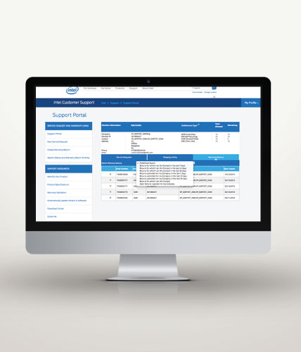 Intel Warranty + Web Ticketing Portal